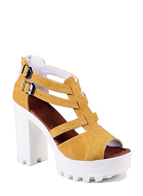 İnce Topuk Topuklu Ayakkabı Hardal